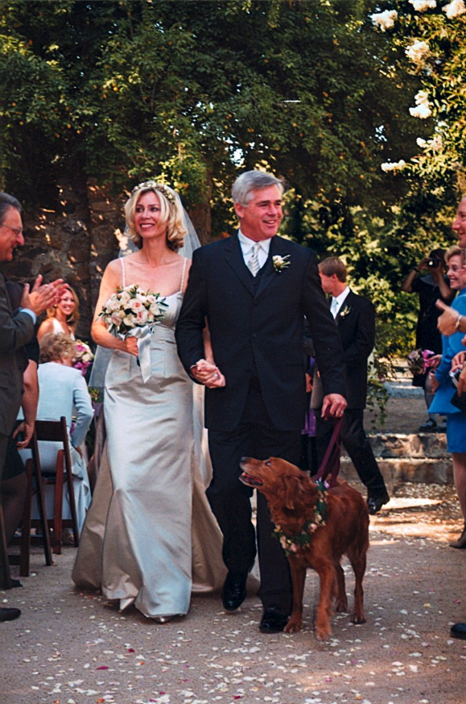 Our dog Tess, a golden retriever mix I found and kept, escorting us down the aisle moments after we were married. Dog, dogs, pets, pet, animals, pet-lover, border-collie, Trueheartgal.