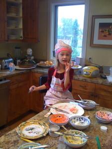 Baking homemade Christmas cookies, 2008