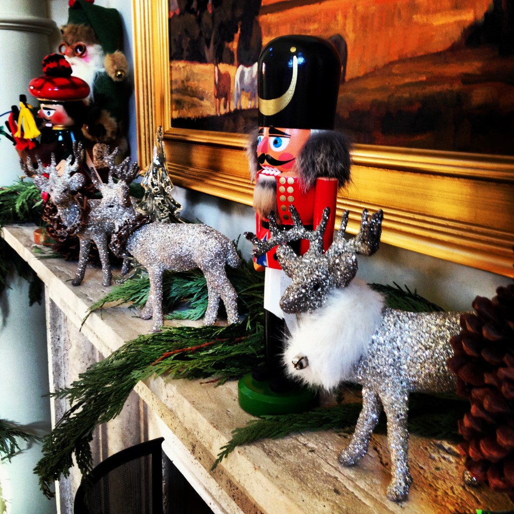 Christmas mantel decorations.
