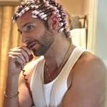 Bradley Cooper sporting curlers in the movie American Hustle