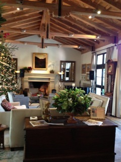 The Cypress Inn lobby, all decorated for Christmas.