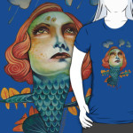 "T-shirt called ""Into The Storm"" by busymockingbird, showing a woman becoming a dragon, covered in scales, heading into clouds"