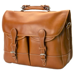 Mulholland's All-Leather Angler's Bag with the shoulder strap. It makes a hip, functional and sturdy briefcase. The company is located in Berkeley, CA. Trueheartgal