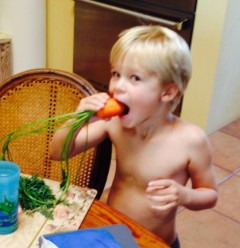 Soup: Grandson eating a fresh garden carrot. Trueheartgal.