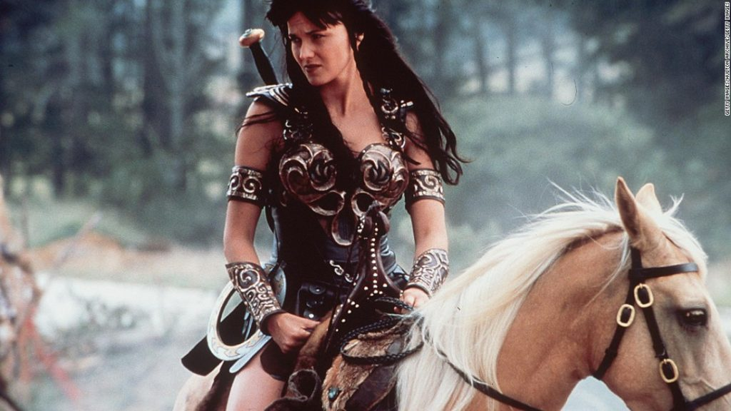 Xena, the warrior princess on her horse. Make a difference.