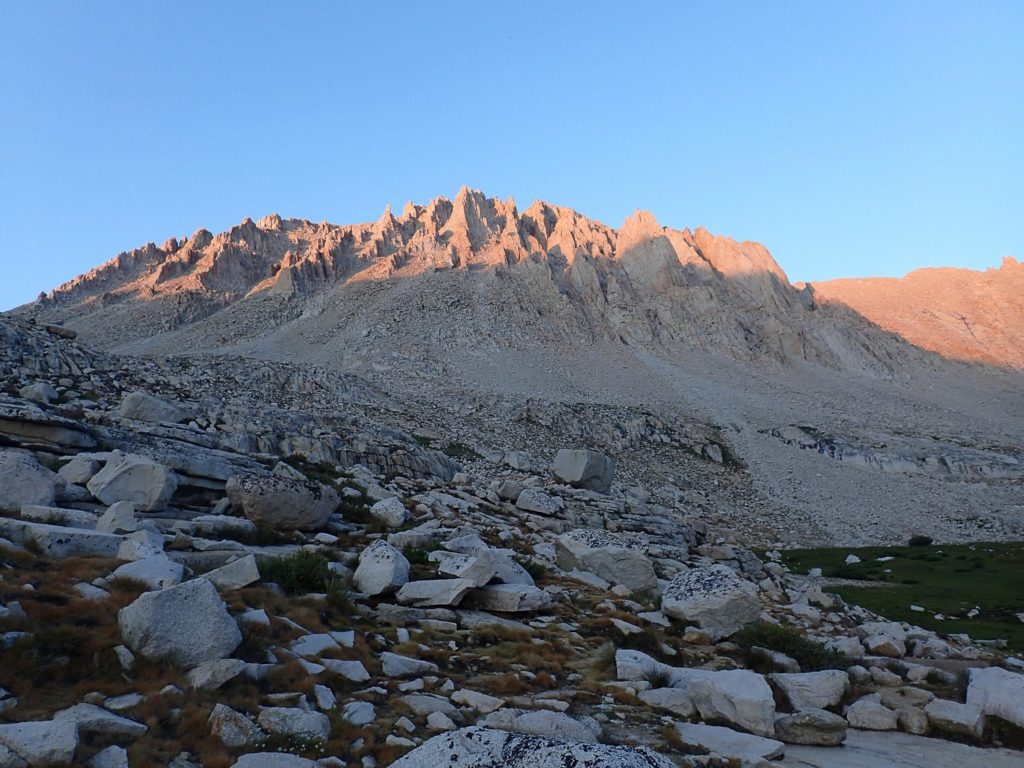 Mt Whitney, captured in the alpenglow. Life-lessons learned while climbing the highest peak in the lower 48.