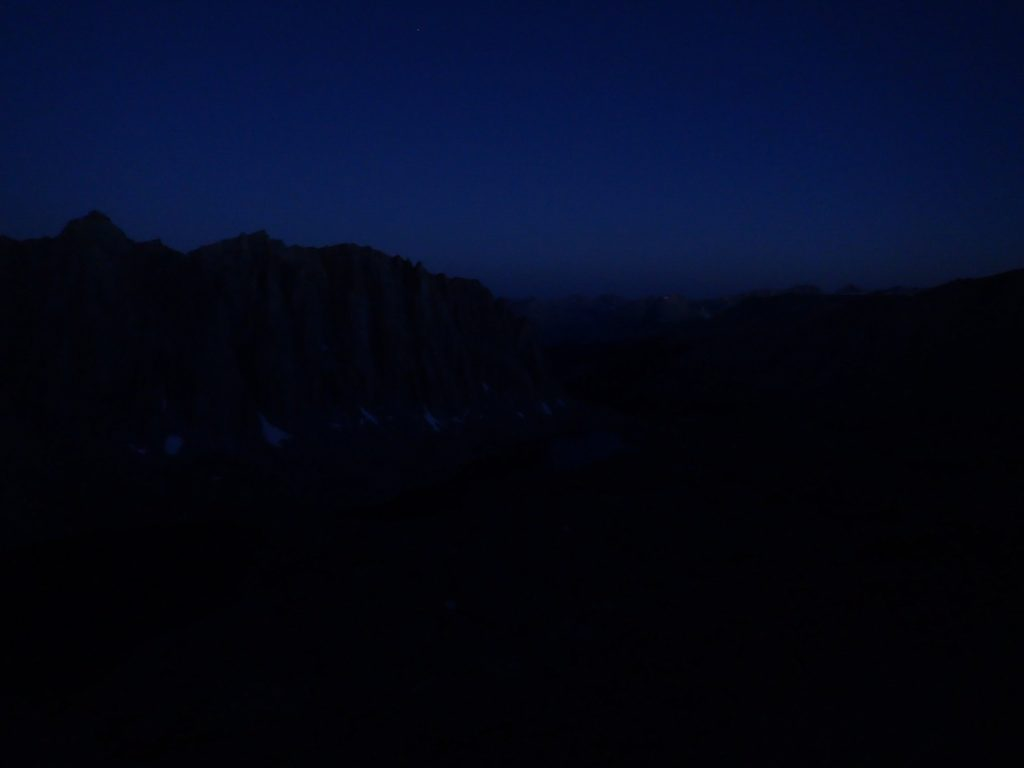 Pre-dawn view at the break spot with no headlamp. Life lessons learned on Mt. Whitney.