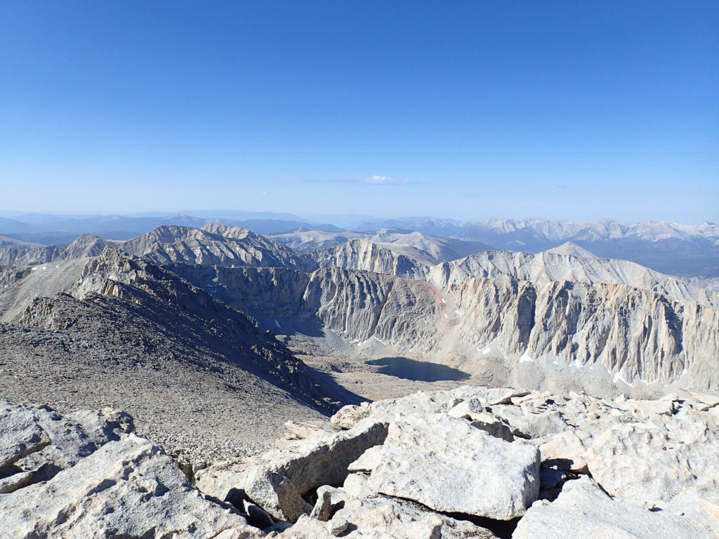 View from Mt. Whitney's summit. Note Whitney's famous spires to the northeast (left side of the photo.) Mt. Whitney's summit. Mount Whitney. Trueheartgal.